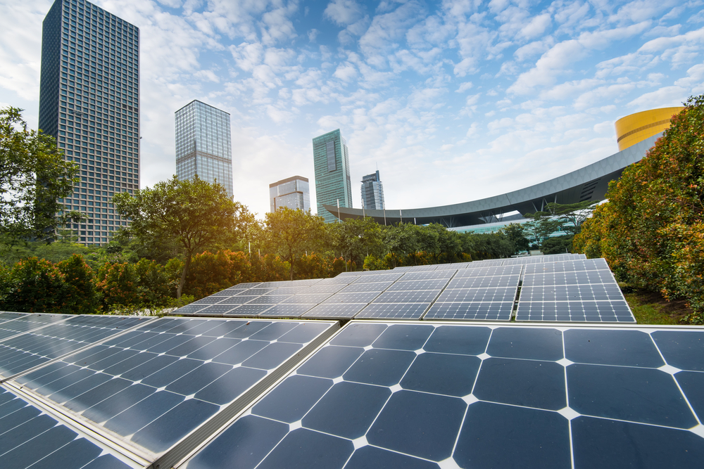 City Scape and Solar Panels – shutterstock_687032035